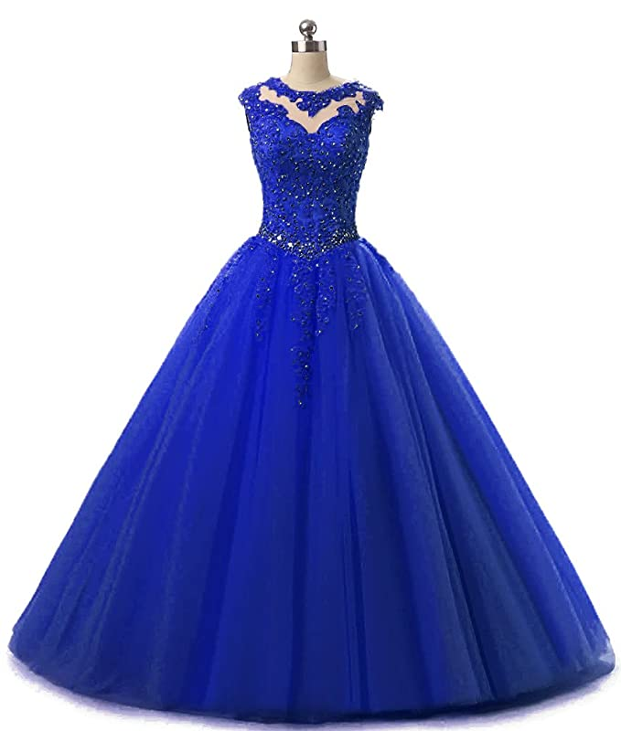 Vestido azul rey unas color