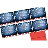 Patriotic Phrases - 36 Note Cards - 6 Designs - Red Envelopes Included
