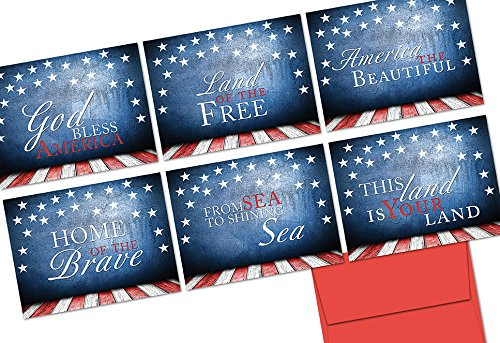 Note Flag American (Patriotic Phrases - 36 Note Cards - 6 Designs - Red Envelopes Included)