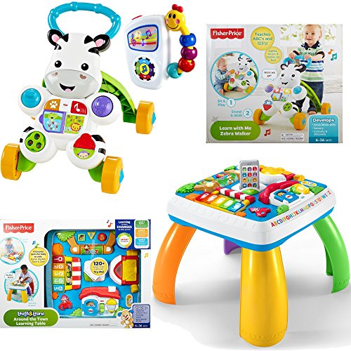 Fisher-Price Laugh & Learn Around The Town Learning Table, Learn with Me Zebra Walker and Baby Einstein Take Along Tunes Musical Toy - Kids Electronic Brain Development Learning Toys, 3-Piece (Things That Start With The Letter V)