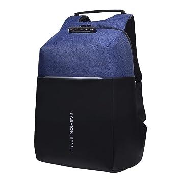 Mochila Portátil Antirrobo - STRIR Mochila Portátil de 15.6 pulgadas con Puerto de Carga USB para Viajar, Escuela, de Negocios,Mochilas para Hombres (Azul): ...
