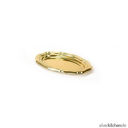 Bandeja de servir, de alta Class de plástico, desechables – oro, ovalado,