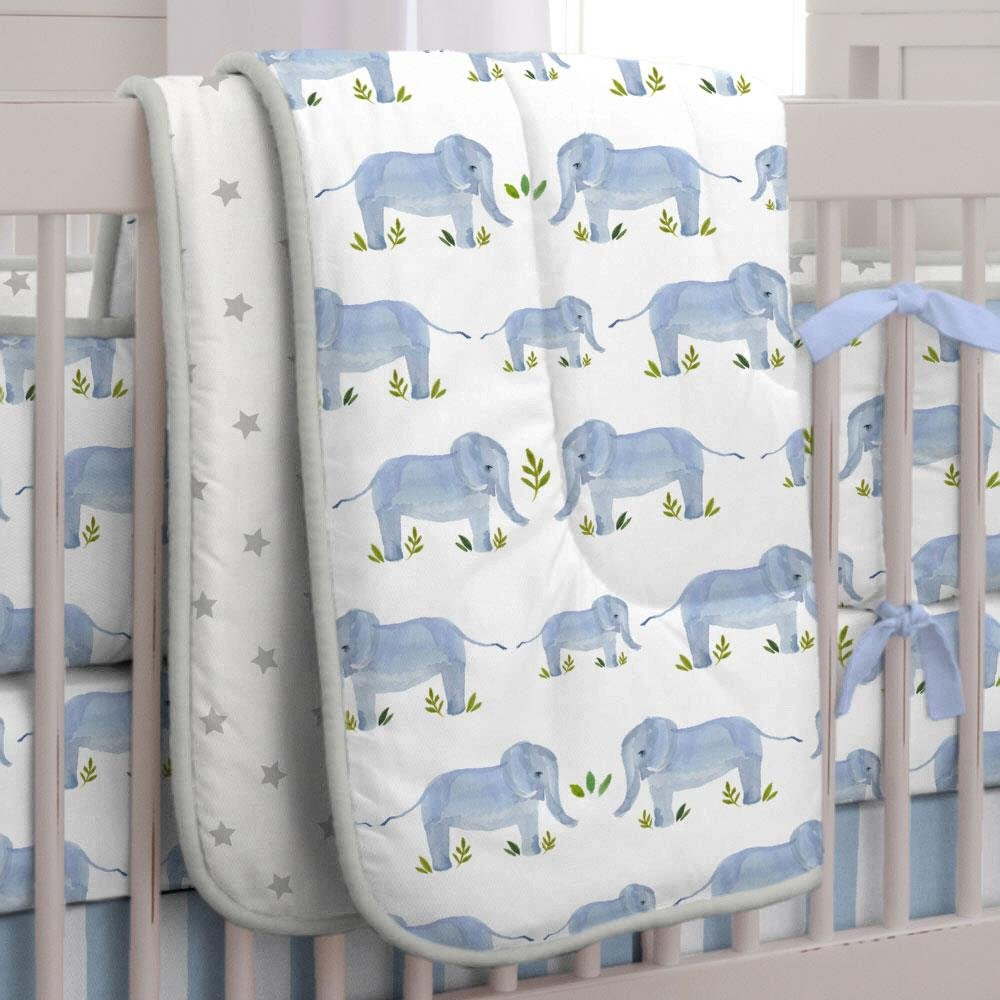 Carousel Designs Blue Painted Elephants Crib Comforter