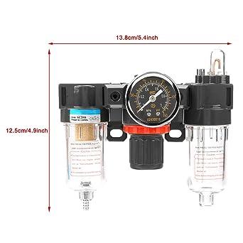 tipo di troppo pieno AC2000 G1 12,5 Regolatore del filtro aria 13,8 cm 4 Regolatore di pressione dei pezzi pneumatici con manometro e alta precisione di filtraggio di 40um