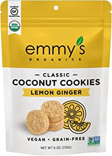 product image for Emmy's Organics Coconut Cookies, Lemon Ginger, 6 oz (Pack of 8) | Gluten-Free Organic Cookies, Vegan, Paleo-Friendly