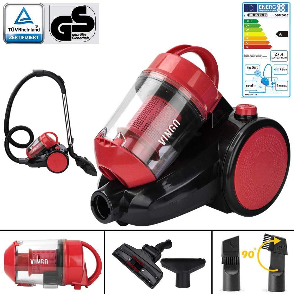 filtre HEPA 12 aspirateur 3L aspirateur cyclone sans sac rouge flexible 360 /° brosse de sol 2en1 VINGO Aspirateur 900 Watt classe /énerg/étique A