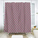 Hexagon Pink Multi Shower Curtain scocici Bathroom Curtain Separation Door Curtain Shower Curtain,Novelty,Vintage Retro Theme Hexagon Stripes on Mint Green Backdrop,Fern Green Hot Pink and Light Pink,70.8