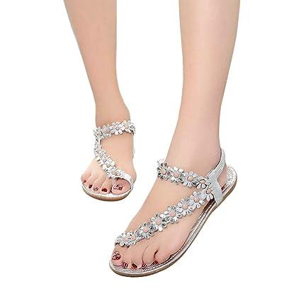 c47e3d6b7e849 Hemlock Women's Summer Flower Bead Sandals Flat Shoes Bohemian Beach  Sandals (US:8, Silver)