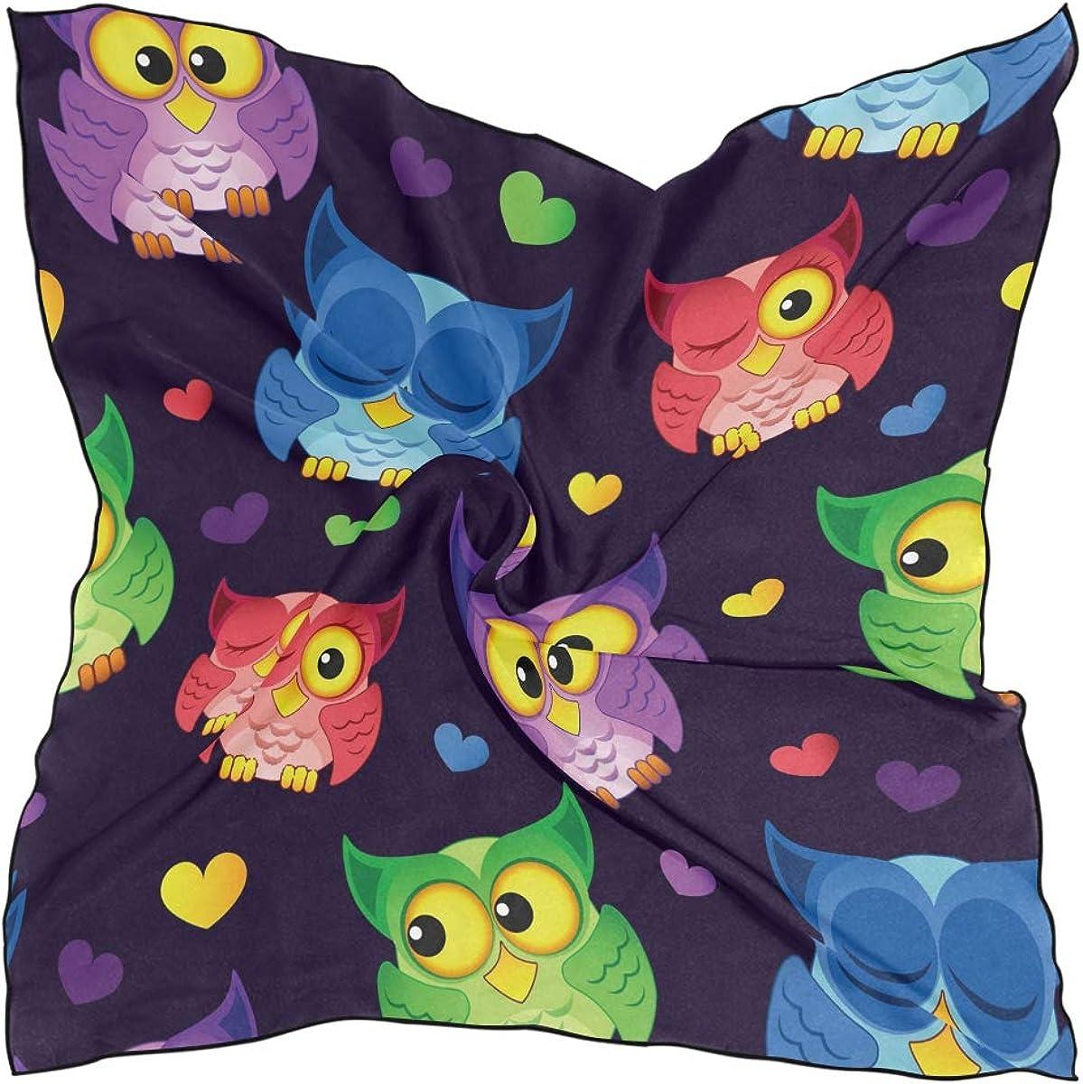 Estampado ligero Caballo Pañuelo cuadrado Dibujos animados Cute Owl Animal Patrón sin costuras para mujeres Señoras Chal Bufanda Head Wraps 60 × 60 CM