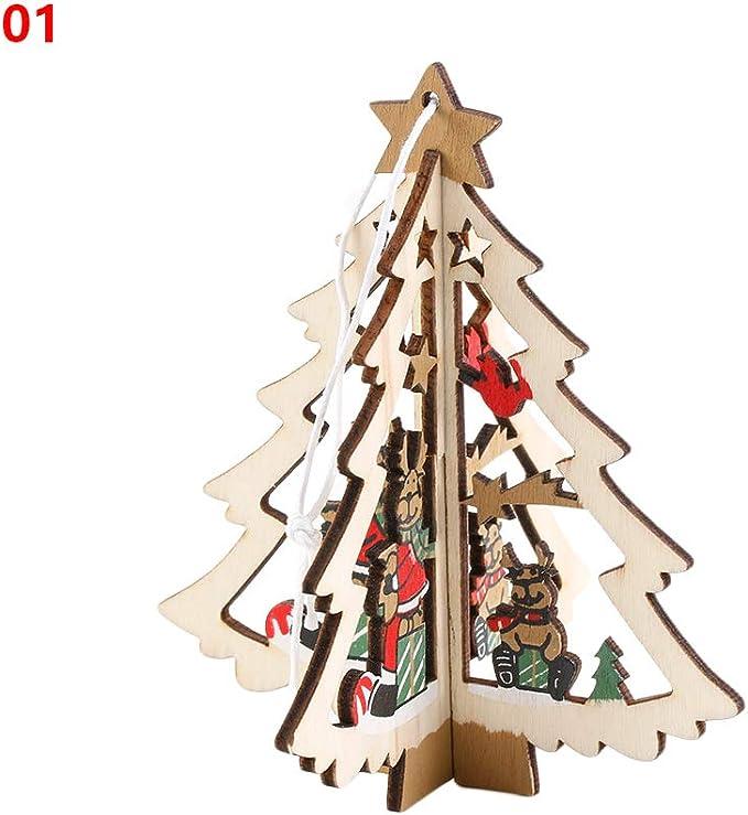 2PCS Hanging Wood Christmas Decor 3D Xmas Tree Ornaments Pendant Decorations
