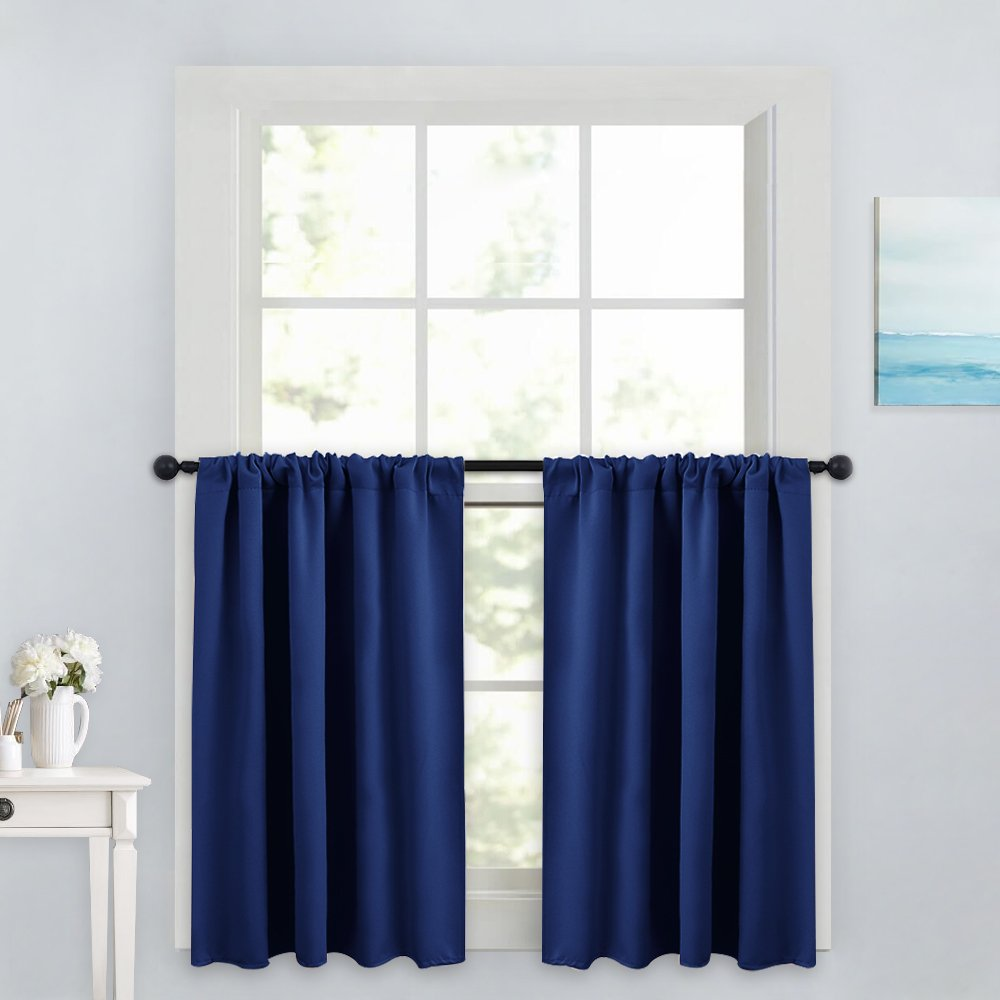 """PONY DANCE Kitchen Curtain Valances - Home Decor Rod Pocket Thermal Insulated Window Treatments Light Block Panels for Bathroom, 42"""" W x 36"""" L, Navy Blue, Set of 2"""