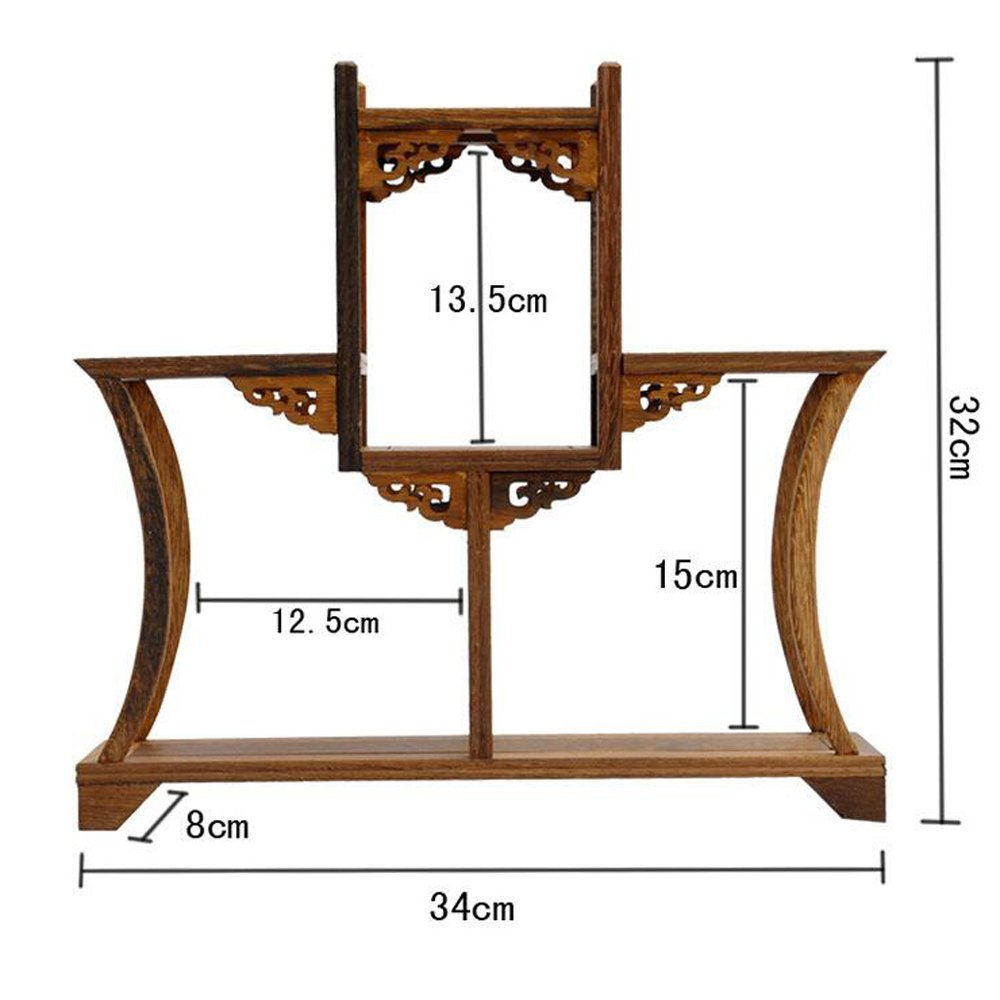 NWFashion Chinese Wooden Assemble Display Stand Symmetric Double Floor Curio Cabinets Shelf (1)