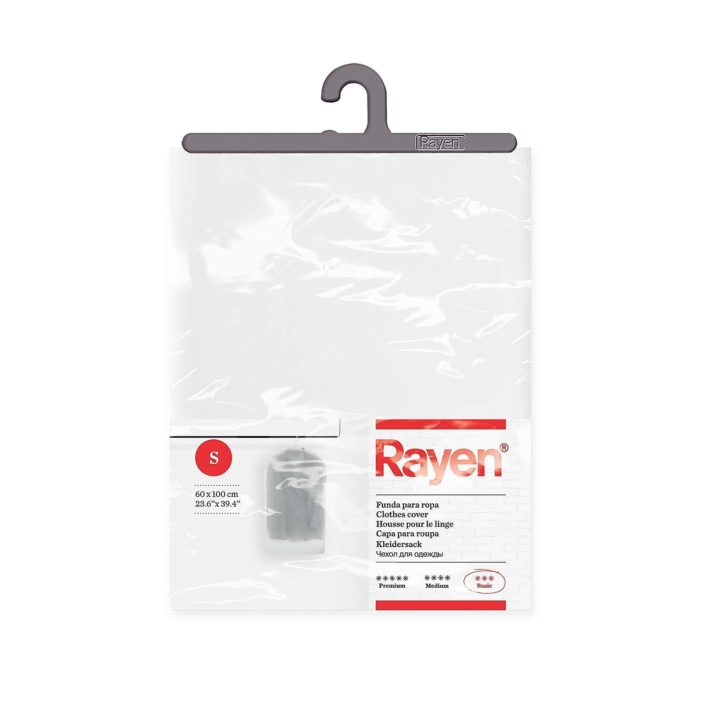 Rayen - Funda de ropa para armario. Funda de traje para percha. Cubre vestido resistente al polvo, humedad y polillas. 60 x 100 cm. Translúcido