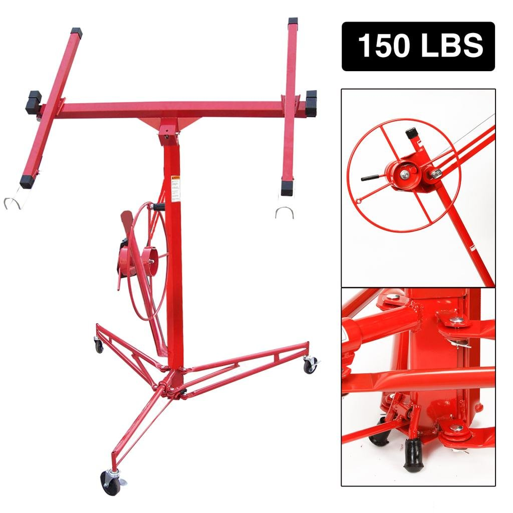Idealchoiceproduct 11' Drywall Lift Rolling Panel Hoist Jack Lifter Construction Caster Wheels Lockable Tool Red by Idealchoiceproduct (Image #1)