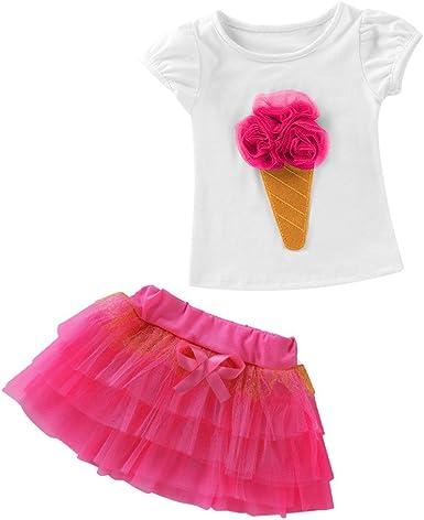 Conjunto de Camisetas Bebé Niño Niña Manga Corta Falda Vestido ...