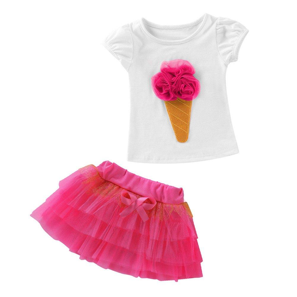 Conjunto de Camisetas Bebé Niño Niña Manga Corta Falda Vestido Verano Primavera Algodón Recién Infantil Camiseta de 3D Helado Patrón Y Falda con Bowknot Vestido 2 Piezas ❤️️Lonshell