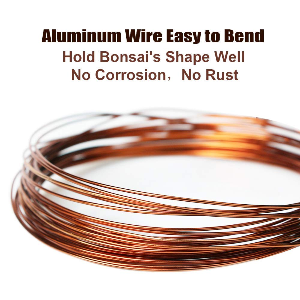 Quality Bronze Long Lasting Bonsai Training Wire Set of 3 Sizes - 1.0mm, 1.5mm, 2.0mm, Corrosion and Rust Resistant (32 Feet Each Size)