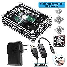Smraza Raspberry Pi 3 Model B+ Case with Fan, 5V 2.5A Power Supply with On/Off Switch, 3pcs Heat Sinks, Compatible with Raspberry Pi 2, 3 Model B, 3 Model B+(B Plus)