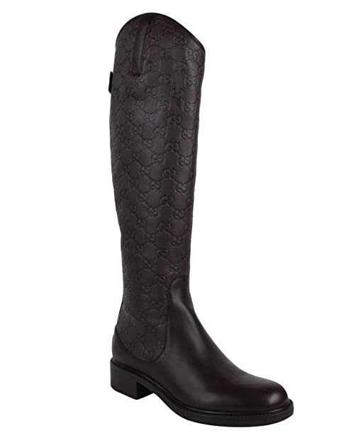 a8967b7f0 Gucci Women's Guccissima Chocolate Brown Leather Riding Boots 296161 2019  (G 39 / US 9