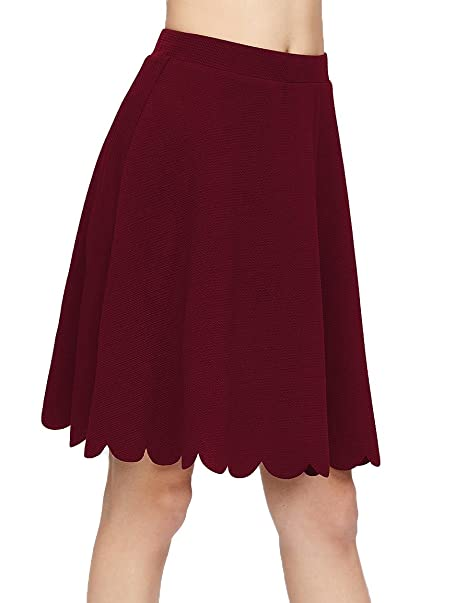 02e948cbe4 SheIn Women's Basic Stretchy Scallop Hem A Line Skirt Small Burgundy