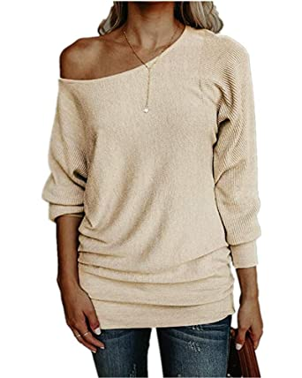 Womens Sexy Off One Shoulder Ruched Sweater Oversized Long Sleeve Cable  Knit Pullover Tunic Tops c5d1330e1