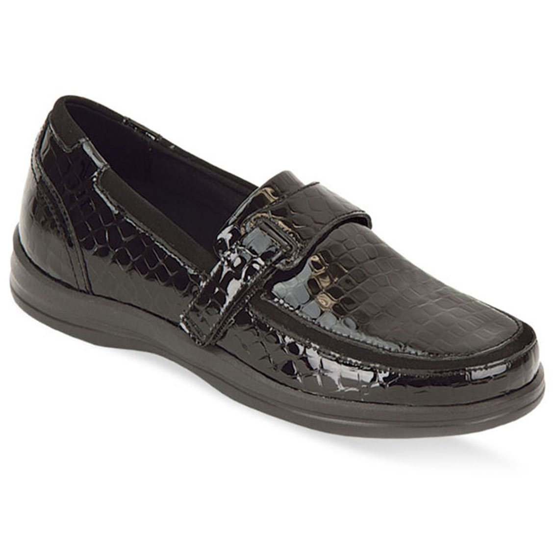 Apex Shoes A205W Evelyn Loafer Flat Black Croc 10