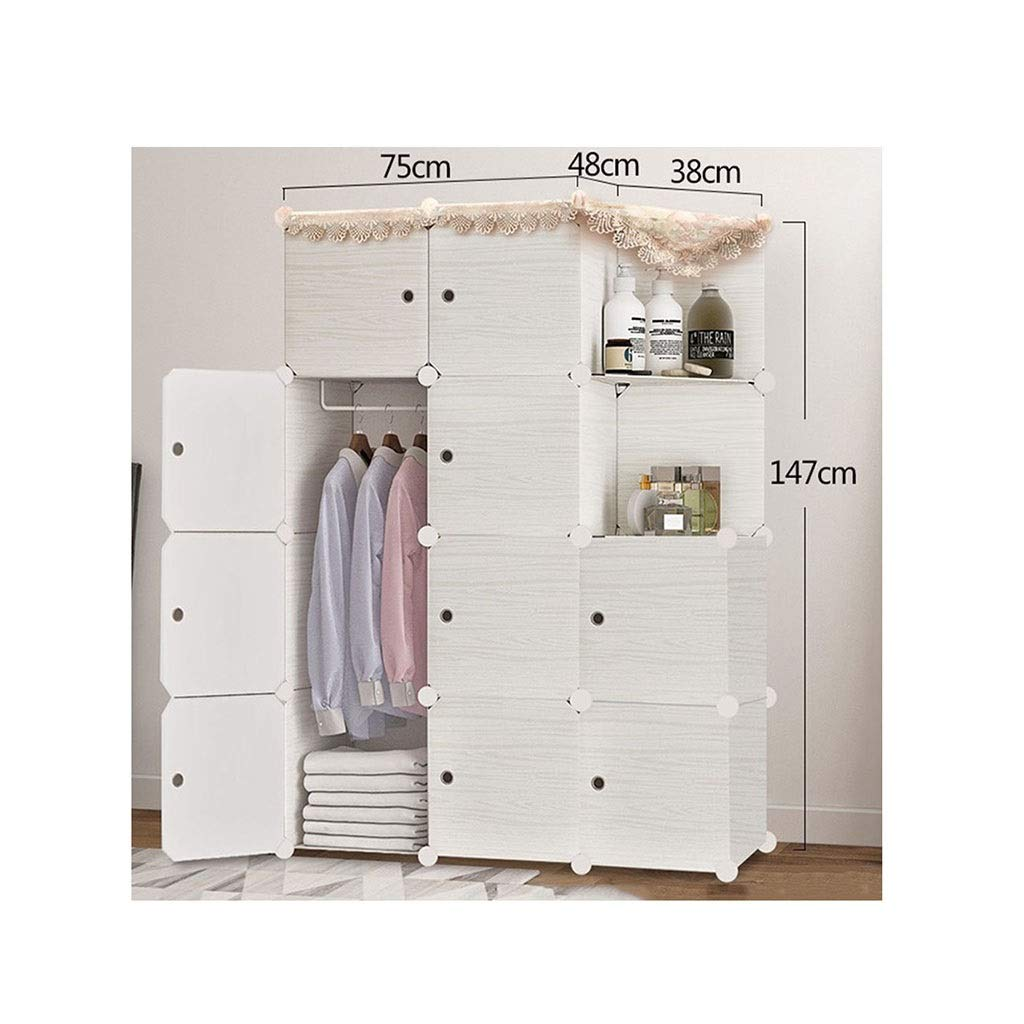 PPKQ Wardrobe Small Simple Furniture Storage Unit 6-Cube Portable Wardrobe Frame Without Wood (White) by PPKQ