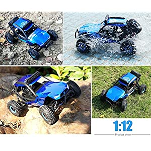 Hosim High Speed RC Off-Road Buggy 50km/h 4x4 Wheel Drive 1:12 Scale Elecrric Car with LED Light Vision, 2.4Ghz Full Function Remote Controlled RTR Fast Hobby Class R/C Monster Truck (Blue)