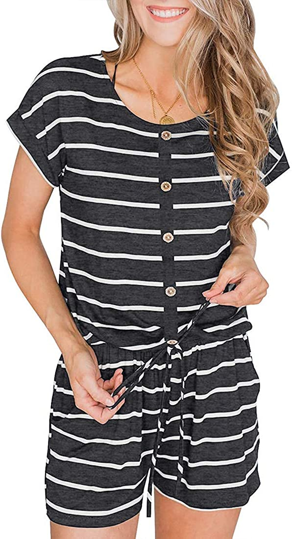 YIBOCK Womens Summer Sleeveless Button Down Striped Short Jumpsuit Cami Romper