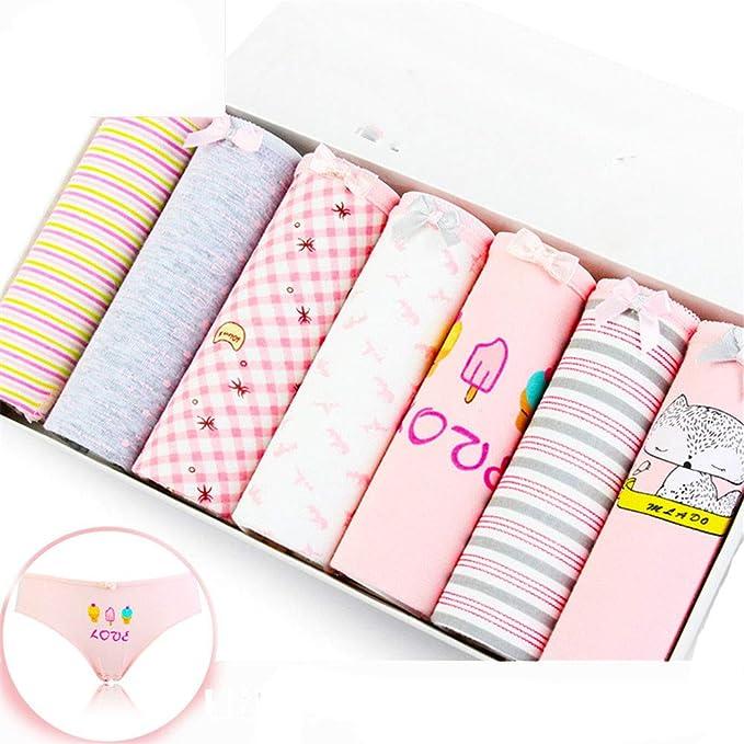 yutu 7 Paquetes, Ropa Interior de Mujer, crepé de algodón, Comodidad antibacteriana,