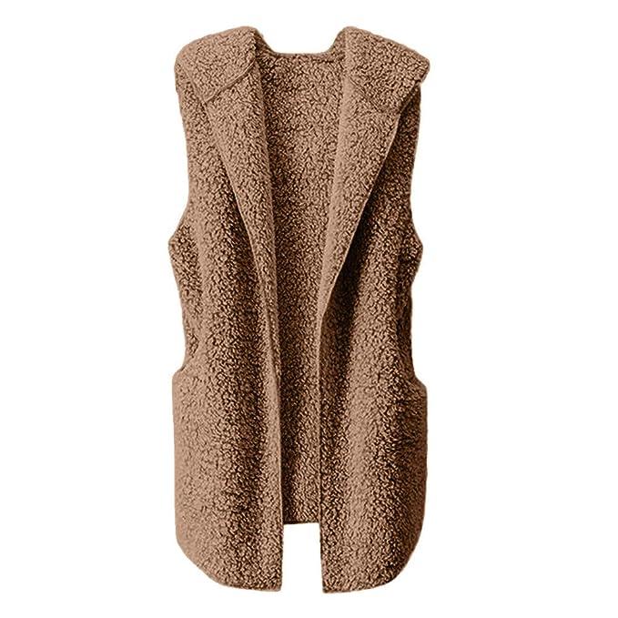 Amazon.com: YOMXL Women Faux Fur Vest Winter Warm Sleeveless Hoodie Autumn Thin Outwear Open Front Cardigan: Home & Kitchen