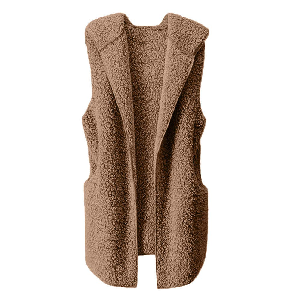 Lmx+3f Womens Plush Vest Winter Warm Hoodie Outwear Casual Sleeveless Coat Jacket Solid Color Soft Comfy Coats Yellow