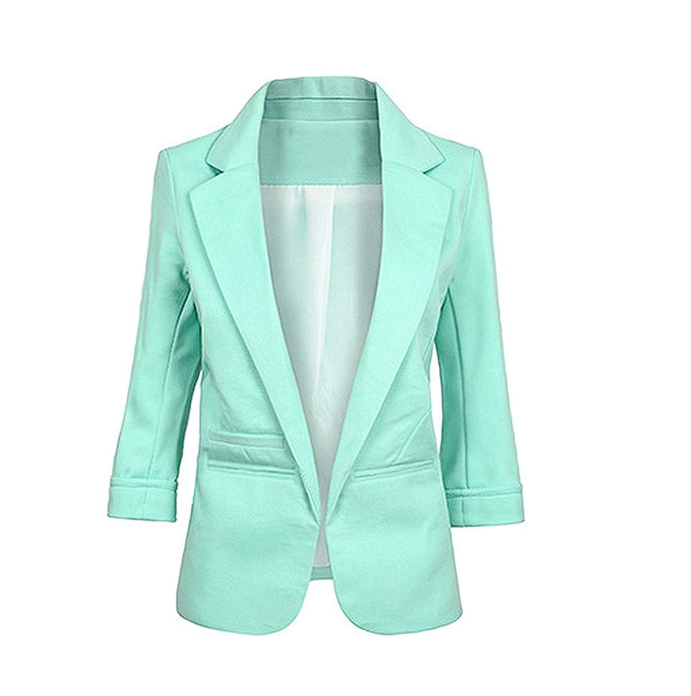 LightGreen Friendshiy Womens Casual Work Office Open Front Blazer Jacket Sleeve Suit Slim
