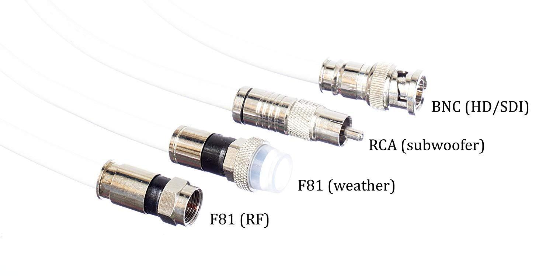 Amazon.com: Cable coaxial RC6 de 15 pies, blanco (Coax Cable), Hecho en EE. UU., con conectores de compresión, F81 / RF, CableTV, antena y satélite, ...