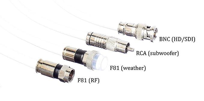Amazon.com: Cable coaxial RC6 de 50 pies, blanco (Coax Cable), Hecho en EE. UU., con conectores de compresión, F81 / RF, CableTV, antena y satélite, ...