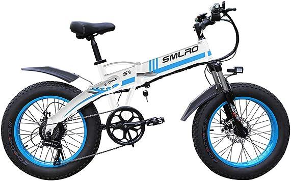 WFIZNB Bicicleta Plegable Bicicleta eléctrica Fat Tire Hombres de la montaña 48V 10Ah Battery35km / h E-Bici de 20 Pulgadas de 7 velocidades Fat Tire Bike E Bicicleta eléctrica 1000W,Azul: Amazon.es: Deportes
