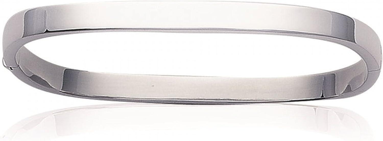 Pulsera de plata para mujer, 59 mm, largo: 51 mm, de plata 925/1000, cuadrada, rígida
