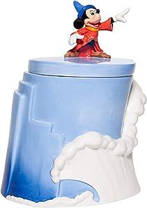 Enesco Disney Ceramics Fantasia 80th Anniversary Sorcerer Mickey Sculpted Treat Canister Cookie Jar, 10 Inch, Multicolor
