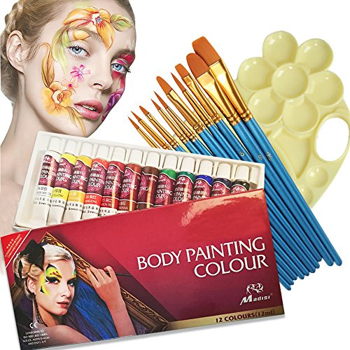 Face Paint Kit,12 Colors Professional Face Painting Tubes, Non-Toxic & Hypoallergenic Body Paint Halloween Makeup, Rich Pigment, Come with 10Pieces Round Pointed Tip Nylon Hair Brush and Palette -