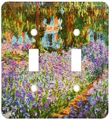 Irises Garden Monet - 3dRose lsp_203697_2 Print of Monet Painting Irises In Garden Double Toggle Switch