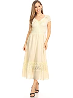 dede38b4e7 Sakkas 3702 Cotton Crepe Smocked Peasant Gypsy Boho Renaissance Mid ...