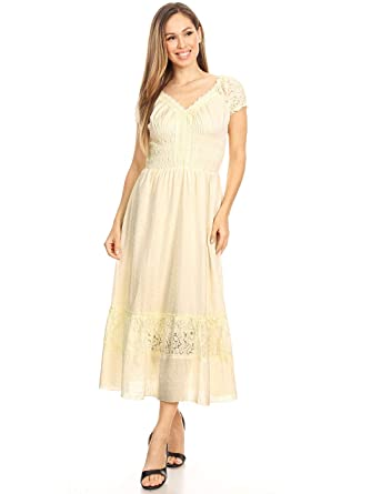 a628358b262 Anna-Kaci Antique Beige Small Size Smocked Waist Summer Maxi Dress Cap  Sleeve Boho Gypsy
