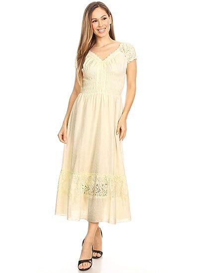 1f54eeeb8e0d0 Anna-Kaci Renaissance Peasant Maiden Boho Inspired Cap Sleeve Lace Trim  Dress