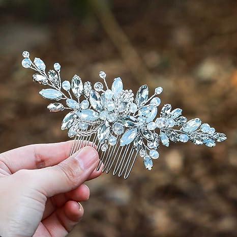 Haarkamm für Hochzeiten von Handcess, Silber mit Strasssteinen, blauem Opal, Kristall, Vintage-Haarschmuck für Bräute und Bra