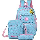 Fanci 3Pcs Star Prints Waterproof Primary School Backpack for Girls Polka Dot Elementary Bookbag Rucksack