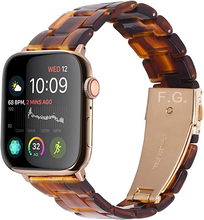 Fullmosa Compatible Apple Watch 40mm/38mm/42mm/44mm, Bright Resin Apple Watch Band for iWatch SE & Series 6/5/4/3/2/1,Dark Amber(Gold Hardware) 40mm