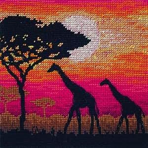 Anchor - Patrón para cuadro de punto de cruz, diseño de jirafas en la selva al atardecer