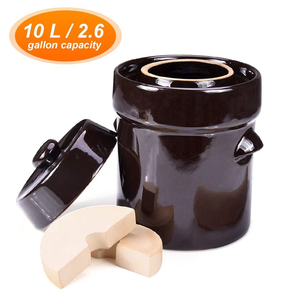 Fermentation Crock Jar 10 Liter / 2.6 Gallon - Stoneware Pot for Fermenting, Pickling Kimchi, Sauerkraut, Pickles, Vegetables, Kombucha - Glazed Ceramics Fermenter with Stone Weights, Lid