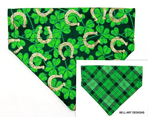 Plaid Horseshoe - Bell Art Designs DOG BANDANA, Over the Collar, Reversible, Shamrocks, Horseshoes, Plaid, EXTRA EXTRA SMALL, DCXXS0213