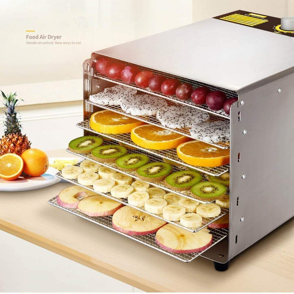 Food dehydrator Food Dryer with Timer 30~90°C, 6 Stainless Steel Trays, Meat and Dried Fruit dehydrator by ZTHUAYUAN